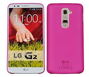 HOKO Ultra Thin Semi Transparent Hard Case Back Cover for LG G2 (D802T) (Pink)