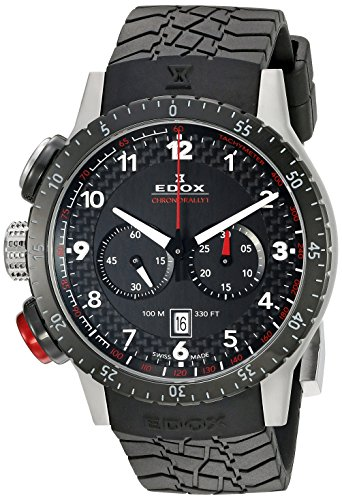 EDOX 10305 3NR-NR-Unisex Watch Analogue Quartz Chronograph Med/Light/time Compass Black Rubber Strap