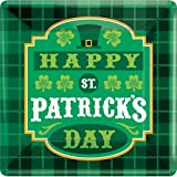 8 Ct 10.25 Inch Square St Patrick s Day St Paddy s Day Plaid Paper Plates