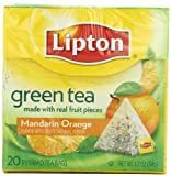 Lipton Green Tea, Mandarin Orange, Premium Pyramid Tea Bags, 20-Count Boxes (Pack of 6)