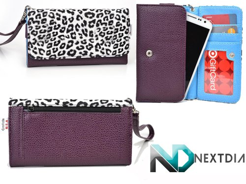 Gigabyte Gsmart Maya M1 Womens Wristlet Clutch Case White Leopard Pattern With Purple Plum And Electric Blue With Credit Card Holder And Crossbody Shoulder Strap & Nd Velcro Cable Organizer