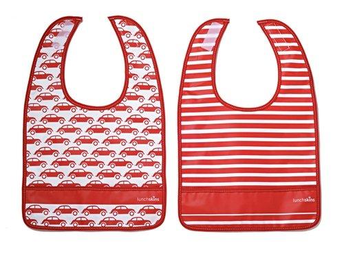 Lunchskins Dishwasher Safe Pocket Bib Set (Red Car)