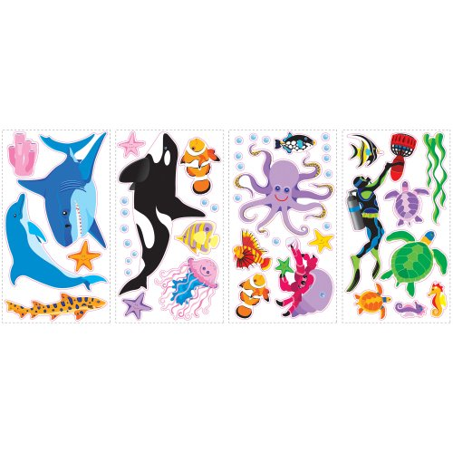 RoomMates SPD0002SCS Awesome Ocean Peel and Stick Wall Decals, 46 Count, 1-Pack