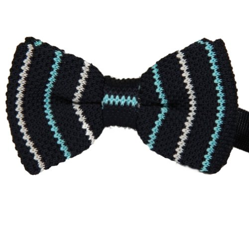 Enwis Men'S Bowtie Bow Tie Double Layer Knit Knitted Pre Tied Navy White Striped
