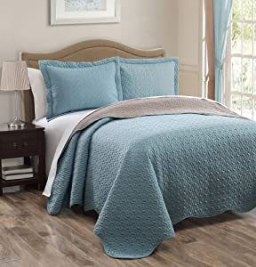 o0o 3 piece Spa Blue Taupe Reversible Bedspread Quilt Set Queen