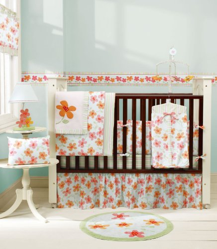 Sumersault Hannah 4-Piece Crib Set - Blue and Coral (Discontinued by Manufacturer)