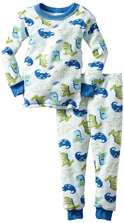 Gerber Baby-Boys Infant 2 Piece Dino Rawr Thermal Set, White/Blue, 18 Months