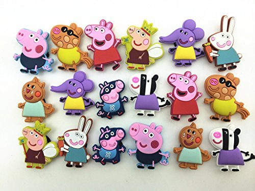 Cheapest Prices! 18 Peppa Pig George Daddy Pig Shoe Charms Fits Croc Shoes & Wristband