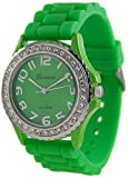 Geneva Platinum Womens 6886.Green Green Rubber Quartz Watch with Green Dial