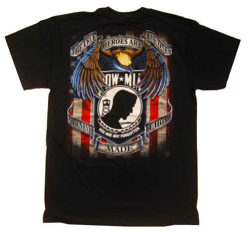 POW MIA True Heroes T-Shirt, Black, X-Large