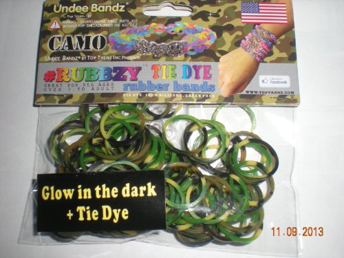 Rubbzy Glow in the Dark Camouflage Tie Dye Loose Rubber Bands - 1