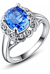 Austrian Crystals 18k Rose Gold Gp Gemstone Women Lady Party Finger Band Rings (8, Platinum Spphire)