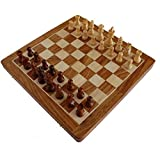 Stonkraft Collectible Folding Wooden Chess Game Board Set with Magnetic Crafted Pieces, 14 Inch x 14 Inch