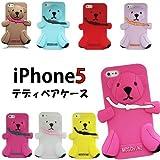 iPhone5 テディベア シリコンケース ラメホワイト (2705)