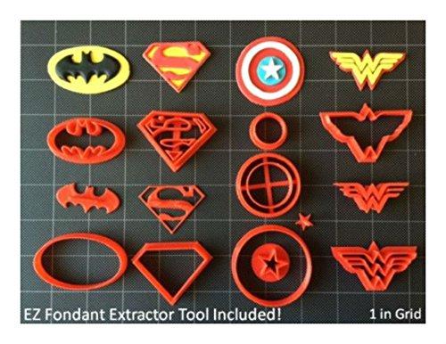 Super Hero Cookie Cutter (Set A) / Fondant Cutter / Cupcake Topper - (14pc Set ) Buyer`s Choice