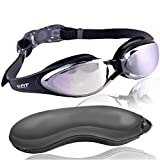#1 Rated Adult Performance Swim Goggles on Amazon by U-FIT - 2 in 1 with FREE Goggle Case - 100% Money Back Guarantee - For Men and Women - 100% U.V. Protection, Anti-shatter, Anti-fog, Mirror Coated Lenses! Easily Adjustable, Environment Friendly Strap with Plastic Buckle for Easy Removal! Highly Durable Nose Piece to Fit All Sizes! Comes with Own High Quality Protection Case! (Comes with one pair of goggles + goggle case)