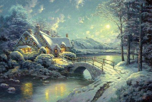 Schmidt Spiele 500 pièces - Thomas Kinkade : Clair de lune sur la neige
