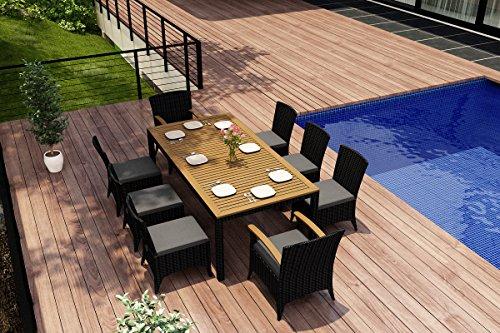 Harmonia Living Arbor 9 Piece Wicker Patio Dining Set with Gray Sunbrella Cushions (SKU HL-AR-9DN-CC) image