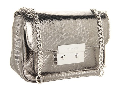 MICHAEL Michael Kors Sloan Small Shoulder Flap Shoulder Handbags - Gunmetal Python