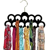 Home Basics Velvet Scarf Hanger with Hooks, Black, 3-Pack