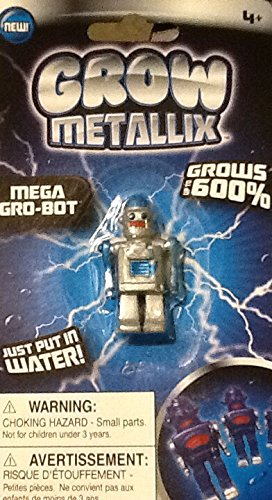 Grow Metallix Mega Gro-Bot ~ Metallic Silver ~ 600% Growing Robot ~ Gag Toy ~ Water Expandable Toy - 1