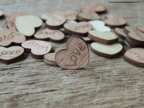 100 TINY Love Wooden Hearts - Wood Table Confetti, Embellishments, Scatters, Invitations, Table Decor, Rustic Weddings and Events (1/2 inch size)