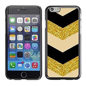 Omega Covers - Snap on Hard Back Case Cover Shell FOR Apple Iphone 6 Plus / 6S Plus ( 5.5 ) - Glitter Chevron Black Beige Dancer