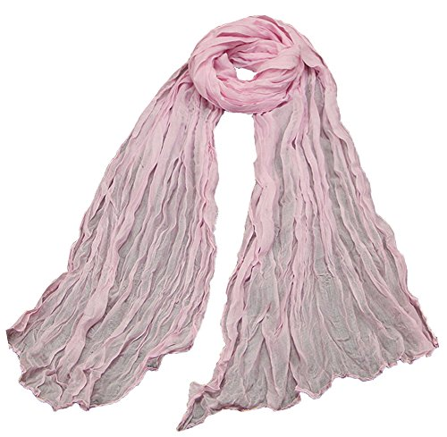 Luk T-Shop Womens Solid Colors Charming Long Candy Crinkle Scarf (Pink)