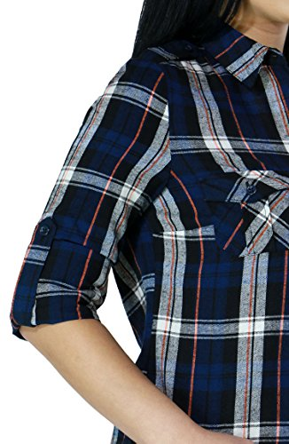 Women's Cotton Plaid Ranch Texas Style Casual Button Down Roll Up Sleeve Shirts (SMALL, NAVY-L21028T)