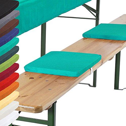 Bankkissen-4er-Set-25x36x2-cm-Bierbankkissen-Kissen-Sitzkissen-Bierzeltgarnitur-mit-Befestigungsband-trkis