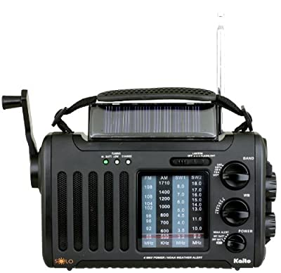 Kaito Voyager Solo KA450 Solar/Dynamo AM/FM//SW & NOAA Weather Emergency Radio with Alert & Cell Phone Charger, Color Black by Kaito