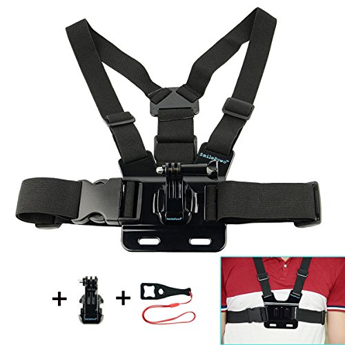 SmilePowo Chest Mount Harness with 2 J Hook Mount for GoPro Hero5 Black, Hero5 Session, Hero4 Silver, Hero4 Black, Hero Session - Including Screw and Wrench,Sports & Action Video Cameras