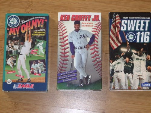Collection of (3) SEATTLE MARINER Baseball Videos - 1995 MY OH MY, KEN GRIFFEY JR. Adventures in Baseball (1996) 2001 SWEET 116 - Sold as a set (save on shipping worldwide!). VHS Videocassettes (NTSC) at Amazon.com