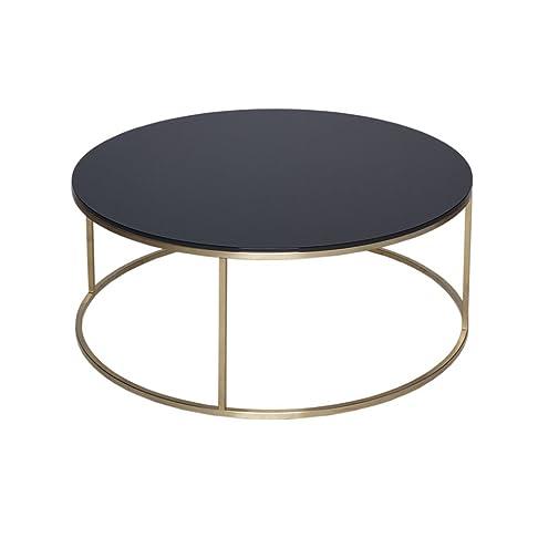 Gillmore Space Oro e nero vetro tavolino circolare contemporanea in metallo