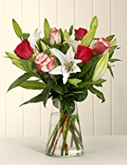 Classic Christmas Rose & Lily Bouquet