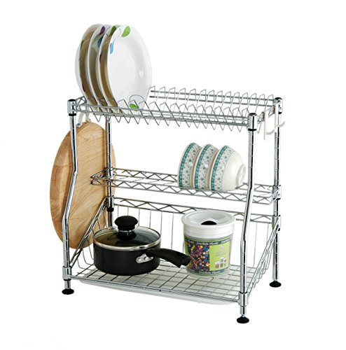 Kissloves 3 Tier Stainless Steel Kitchen Dish Rack Cup Drying Rack Drainer Dryer Tray Cutlery Holder Organizer