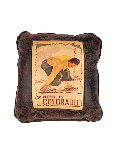Winter in Colorado Leather Pillow, Brown