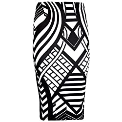 Womens Ladies Midi Pencil Plain Striped Printed Bodycon High Waist Tube Wiggle Skirt Plus Sizes, Many Colours/style Available