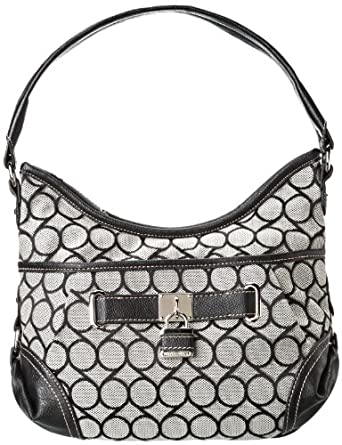 Nine West 9s Jacquard Small Hobo Handbag,Black,One Size
