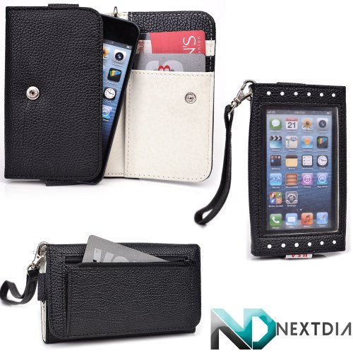 Women'S Wallet For Smartphones - Fits Optima Smart Ops-80D (Jet Black / Light Grey) Exposed Screen For Easy Alert Acces + Nextdia Cable Wrap