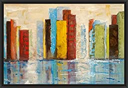 38in x 26in City of Colors by Alexa Tava - Black Floater Framed Canvas w/ BRUSHSTROKES