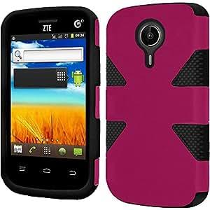 HRWIRELESS(TM) For ZTE N817 Dynamic Slim Rugged Hybrid Dual Layer Cover Case (Hot Pink Black)