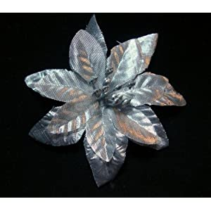 NEW Silver Poinsettia Flower Hair Clip and Pin Back, Limited.