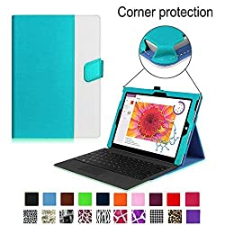 Fintie Microsoft Surface 3 Case - Premium PU Leather Folio Cover with Cards Slots and Stylus Holder for Microsoft Surface 3 10.8-Inch Windows Tablet (Not Fit Surface Pro 3 12-Inch), Blue/White