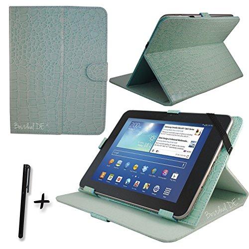 "Luxus Blau Krokodil PU Lederner Tasche Case Hülle für Point of View ProTab 3XXL & ProTab 25XXL 10.1"" Zoll Tablet PC + Stylus"