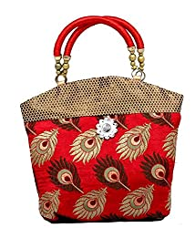 Kuber Industries Women Mini Handbag 10*10 Inches in Stylish Design With Fancy Brocade (Red...