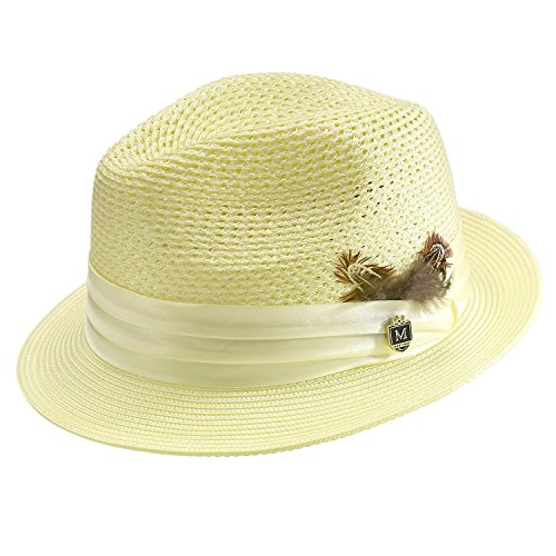 Montique Men's Braided Pinch Fedora Hat H24 (Maize Fedora Hat)