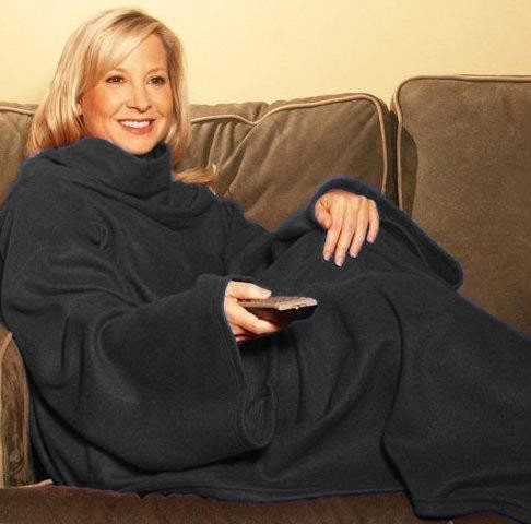 Snuggle Fleece Blanket Cozy Wrap Warm Throw Travel Plush Fabric With Sleeves As Seen On TV- Black