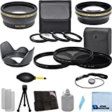 Pro Series 58mm 0.43x Wide Angle Lens + 2.2x Telephoto Lens + 3Pc Filter Sets + 4Pc Close Up Lens + Lens Hood with Deluxe Lens Accessories Kit for Nikon D3000 D3100 D3200 D5000 D5100 D5200 D7000 D7100 D7200 D600 D610 D700 D800 D90 DSLR