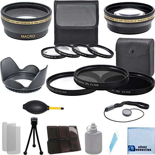 Pro Series 58Mm 0.43X Wide Angle Lens + 2.2X Telephoto Lens + 3Pc Filter Sets + 4Pc Close Up Lens + Lens Hood With Deluxe Lens Accessories Kit For Canon Ef 75-300Mm F/4-5.6 Iii Lens, Canon Ef 50Mm F/1.4 Usm Lens, Canon Ef-S 55-250Mm F/4-5.6 Is Stm Lens, C